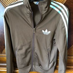 Euc adidas jacket brown and light blue sm